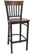 Vertical Slat Back Metal Barstool w/ Walnut Back and Wood Seat