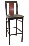 Center Slat Metal Barstool w/ Dark Mahogany Back and Vinyl Seat