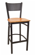 Perforated Back Metal Barstool w/ Veneer Seat