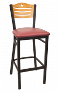 3 Slats with Circle Metal Barstool w/ Golden Oak Back and Vinyl Seat