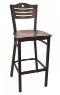 3 Slats with Circle Metal Barstool w/ Walnut Back and Veneer Seat
