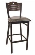 3 Slats with Circle Metal Barstool w/ Walnut Back and Vinyl Seat