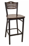 3 Slats with Circle Metal Barstool w/ Walnut Back and Wood Seat