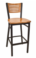 5 Slats Metal Barstool w/ Cherry Back and Wood Seat