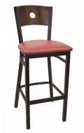 Circle Back Metal Barstool w/ Walnut Back and Vinyl Seat