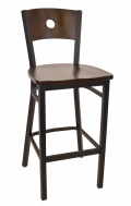 Circle Back Metal Barstool w/ Walnut Back and Wood Seat