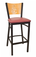 Coffee Back Metal Barstool w/ Golden Oak Back and Vinyl Seat