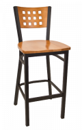 Lattice Back Metal Barstool w/ Cherry Back and Wood Seat