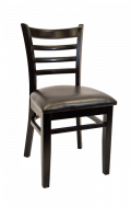 Beechwood Ladder Back Chair w/ Black Frame and Vinyl Seat