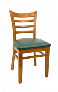 Beechwood Ladder Back Chair w/ Cherry Frame and Vinyl Seat