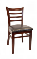 Beechwood Ladder Back Chair w/ Dark Mahogany Frame and Vinyl Seat