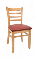 Beechwood Ladder Back Chair w/ Natural Frame and Vinyl Seat