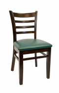 Beechwood Ladder Back Chair w/ Walnut Frame and Vinyl Seat