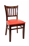 Beechwood Vertical Slat Side Chair w/ Dark Mahogany Frame and Vinyl Seat