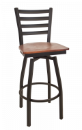Ladder Back Swivel Metal Barstool w/ Veneer Seat