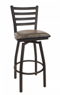 Ladder Back Swivel Metal Barstool w/ Vinyl Seat