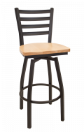 Ladder Back Swivel Metal Barstool w/ Wood Seat