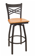 X Back Swivel Metal Barstool w/ Veneer Seat