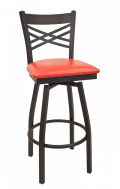 X Back Swivel Metal Barstool w/ Vinyl Seat