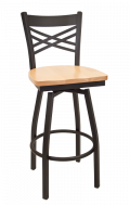 X Back Swivel Metal Barstool w/ Wood Seat