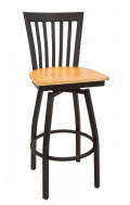 Elongated Vertical Back Swivel Metal Barstool w/ Veneer Seat