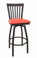 Elongated Vertical Back Swivel Metal Barstool w/ Vinyl Seat