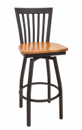 Elongated Vertical Back Swivel Metal Barstool w/ Wood Seat