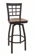Window Back Swivel Metal Barstool w/ Veneer Seat