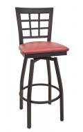 Window Back Swivel Metal Barstool w/ Vinyl Seat