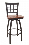Window Back Swivel Metal Barstool w/ Wood Seat