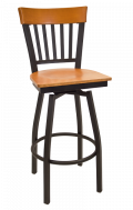 Vertical Slat Back Swivel Metal Barstool w/ Cherry Back and Veneer Seat