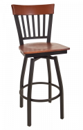 Vertical Slat Back Swivel Metal Barstool w/ Dark Mahogany Back and Veneer Seat