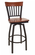 Vertical Slat Back Swivel Metal Barstool w/ Dark Mahogany Back and Wood Seat