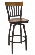 Vertical Slat Back Swivel Metal Barstool w/ Walnut Back and Veneer Seat