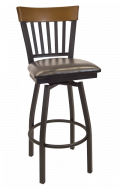 Vertical Slat Back Swivel Metal Barstool w/ Walnut Back and Vinyl Seat
