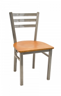 Grey Frame,3 Slat Ladder Back Metal Chair w/ Veneer Seat
