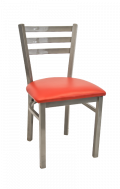 Grey Frame,3 Slat Ladder Back Metal Chair w/ Vinyl Seat