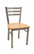 Grey Frame,3 Slat Ladder Back Metal Chair w/ Wood Seat