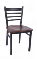 Smooth Paint Ladder Back Metal Chair w/ Veneer Seat