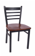 Smooth Paint Ladder Back Metal Chair w/ Wood Seat