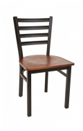 Ladder Back Metal Chair w/ Veneer Seat