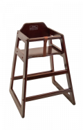 Wood High Chair in Dark Mahogany Finish