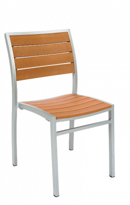aluminum chair with imitation teak slats - Outdoor Restaurant Furniture