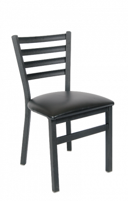 Ladder Back Armless Dining Chair With Vinyl Seat Metal Restaurant Chairs