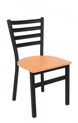 Ladder Back Armless Dining Chair With Veneer Seat Metal Restaurant Chairs