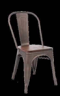 Taupe Grey Gunmetal Finish Tolix Metal Chair W Wood Seat Metal Restaurant Chairs