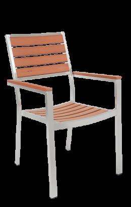 Aluminum Chair With Imitation Teak Slats Silver Frame Outdoor Restaurant Chairs Restaurant