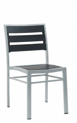 Black Imitation Teak Aluminum Dining Chair