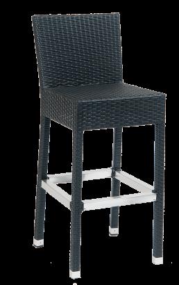 Black Synthetic Wicker Aluminum Barstools Outdoor Restaurant Bar Stools Restaurant Furniture