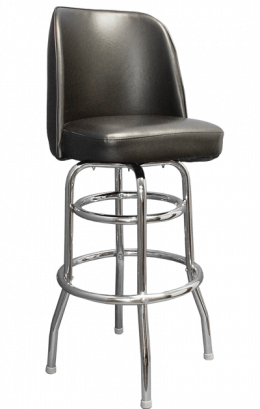 Enjoyable Swivel Barstool With Chrome Finish Base Bucket Seat Black Alphanode Cool Chair Designs And Ideas Alphanodeonline